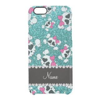 Custom name glitter aqua blue skulls pink bows uncommon clearly™ deflector iPhone 6 case