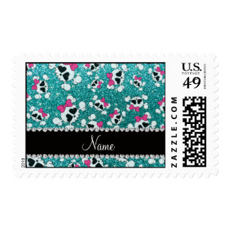 Custom name glitter aqua blue skulls pink bows postage stamp