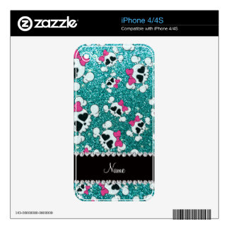 Custom name glitter aqua blue skulls pink bows decal for the iPhone 4S