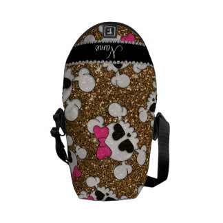 Custom name glitter gold skulls pink bows courier bags