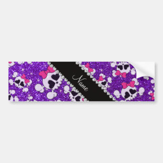 Custom name glitter indigo purple skulls pink bows bumper sticker