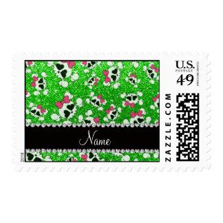 Custom name glitter lime green skulls pink bows stamps