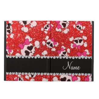 Custom name glitter neon red skulls pink bows powis iPad air 2 case