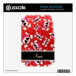 Custom name glitter neon red skulls pink bows iPhone 3GS skins