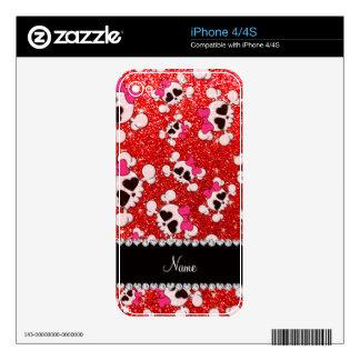 Custom name glitter neon red skulls pink bows skin for iPhone 4