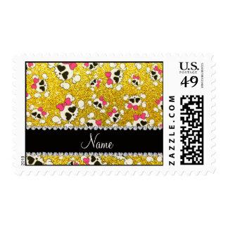 Custom name glitter neon yellow skulls pink bows postage