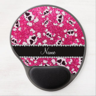 Custom name glitter rose pink skulls pink bows gel mouse pad