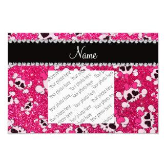 Custom name glitter rose pink skulls pink bows photo art