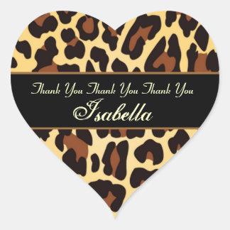 Custom Name Gold Black Leopard Thank You Heart Sticker