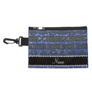 Custom name gold celtic blue glitter accessory bag