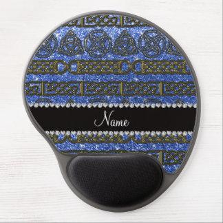 Custom name gold celtic blue glitter gel mouse pad