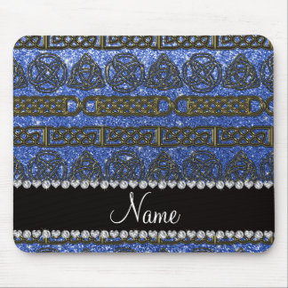 Custom name gold celtic blue glitter mouse pad