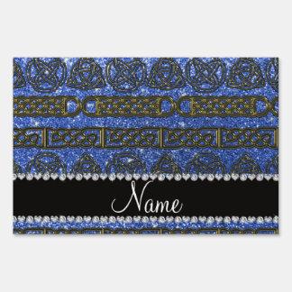 Custom name gold celtic blue glitter yard signs