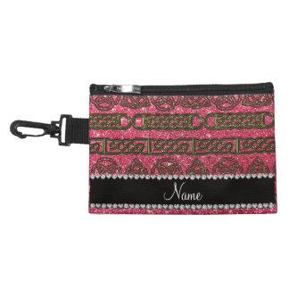 Custom name gold celtic fuchsia pink glitter accessory bags