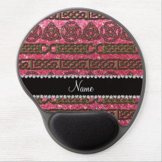 Custom name gold celtic fuchsia pink glitter gel mouse pad