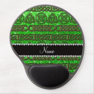 Custom name gold celtic lime green glitter gel mouse pad