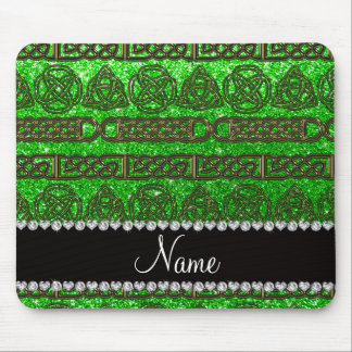 Custom name gold celtic lime green glitter mouse pad