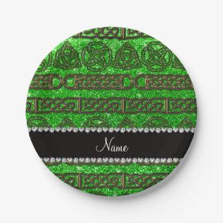 Custom name gold celtic lime green glitter paper plate