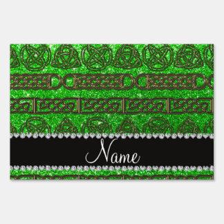 Custom name gold celtic lime green glitter lawn sign