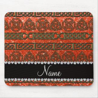 Custom name gold celtic neon orange glitter mouse pad