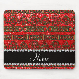 Custom name gold celtic neon red glitter mouse pad