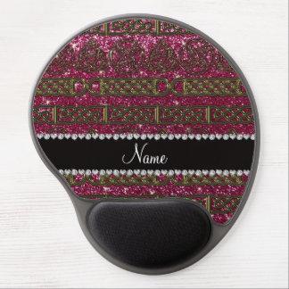 Custom name gold celtic plum purple glitter gel mouse pad