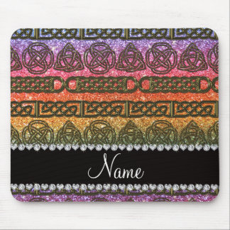 Custom name gold celtic rainbow glitter mouse pad