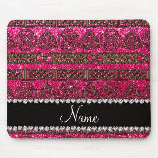 Custom name gold celtic rose pink glitter mouse pad