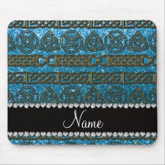 Custom name gold celtic sky blue glitter mouse pad