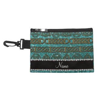 Custom name gold celtic turquoise glitter accessories bag
