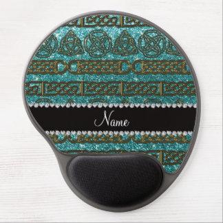 Custom name gold celtic turquoise glitter gel mouse pad