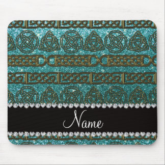 Custom name gold celtic turquoise glitter mouse pad