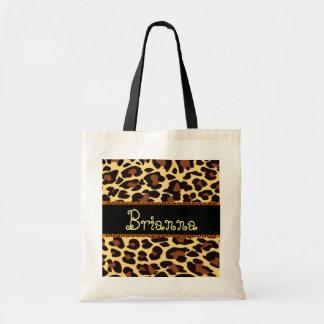 Custom Name Gold Chocolate Black Leopard Tote Bag