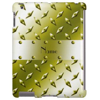 Custom name gold diamond plate steel