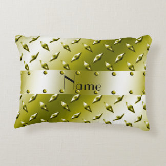 Custom name gold diamond plate steel accent pillow