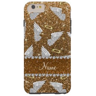 Custom name gold glitter angel wings tough iPhone 6 plus case