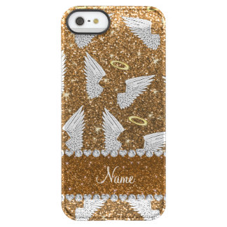 Custom name gold glitter angel wings uncommon permafrost® deflector iPhone 5 case