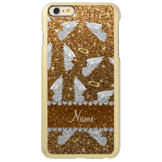 Custom name gold glitter angel wings incipio feather® shine iPhone 6 plus case