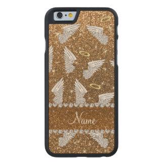 Custom name gold glitter angel wings carved® maple iPhone 6 slim case