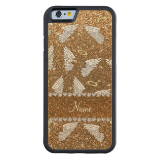 Custom name gold glitter angel wings carved® maple iPhone 6 bumper case