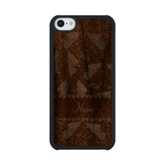 Custom name gold glitter angel wings carved® walnut iPhone 5C slim case
