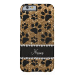 Custom name gold glitter black dog paws barely there iPhone 6 case