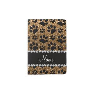 Custom name gold glitter black dog paws passport holder