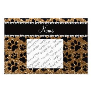Custom name gold glitter black dog paws photo print