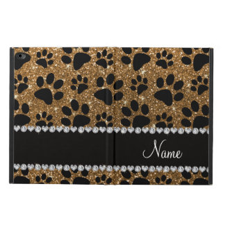 Custom name gold glitter black dog paws powis iPad air 2 case