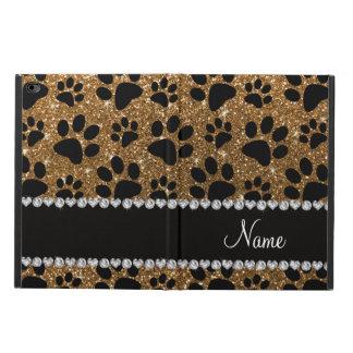 Custom name gold glitter black dog paws powis iPad air 2 case