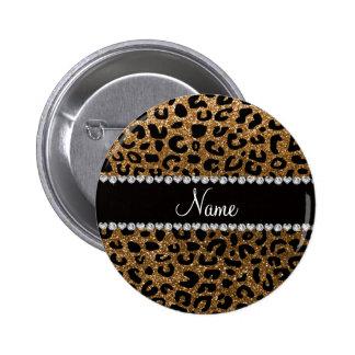 Custom name gold glitter cheetah print 2 inch round button