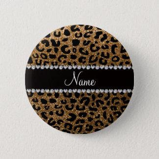 Custom name gold glitter cheetah print button