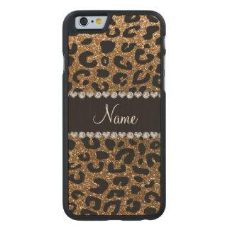Custom name gold glitter cheetah print carved maple iPhone 6 slim case
