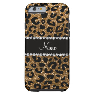 Custom name gold glitter cheetah print tough iPhone 6 case